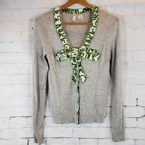 Moth by Anthropologie Intarsia Bow Cardigan Small